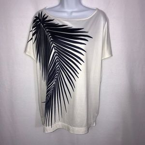 St. John Navy Palm Leaf Print Blouse Small